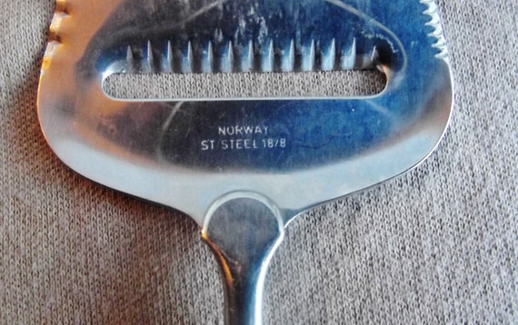 Vintage Norway Cheese Slicer Server - Stainless Steel - Teak