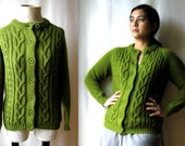 Retro knit sweater in olive green by Alfredo Italia, 1970s.  Ladies size M medium button down crew neck sweater
