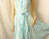 SALE Retro Teal Polka Dot Dress Vintage Small 80s does 50s