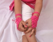 Pink  barefoot Sandals or fingerless Gypsy,Beach lolita