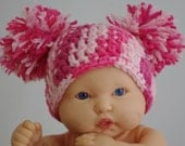 Newborn Girl Double Pom Pom Beanie soft pink and hot pink Hat