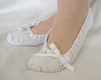 White bridal wedding dance slippers or comfortable home slippers