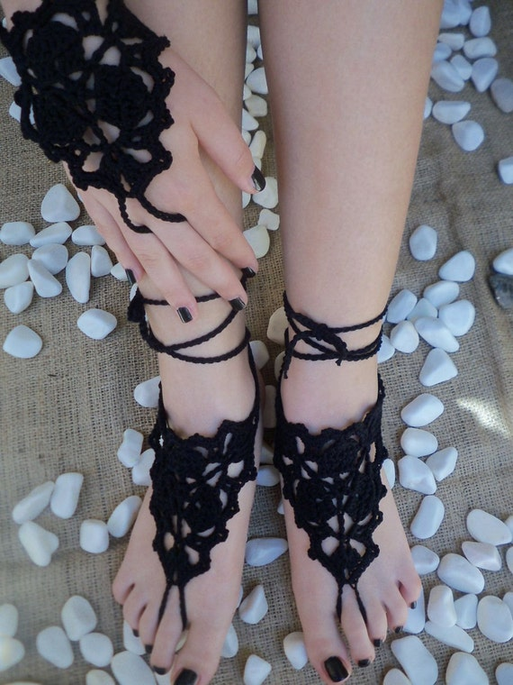 Black Crochet Barefoot Sandals, Nude shoes, weddin,  Foot jewelry, Wictorian Lace, Sexy, Yoga, Anklet , Bellydance, Steampunk, Beach Pool