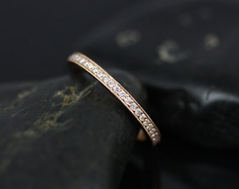 Victoria 14kt Rose Gold WITH Milgrain Pave Diamonds FULL Eternity Band (Other Metals Options Available)