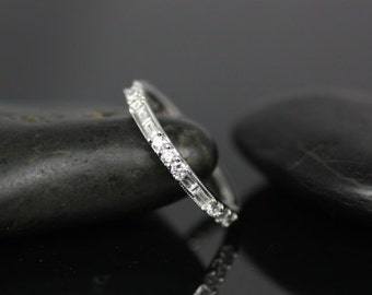 Gabriella Platinum Round and Baguette Bars Diamond WITH Milgrain ALMOST Eternity Band (Other Metals and Stone Options Available)