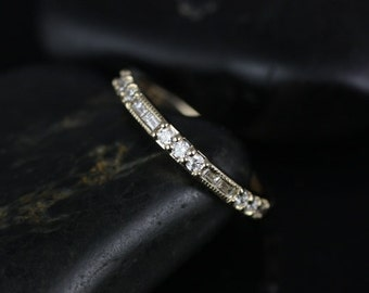 Gabriella 14kt Yellow Gold WITH Milgrain Round and Baguette Bars Diamond ALMOST Eternity Band (Other Metals Options Available)