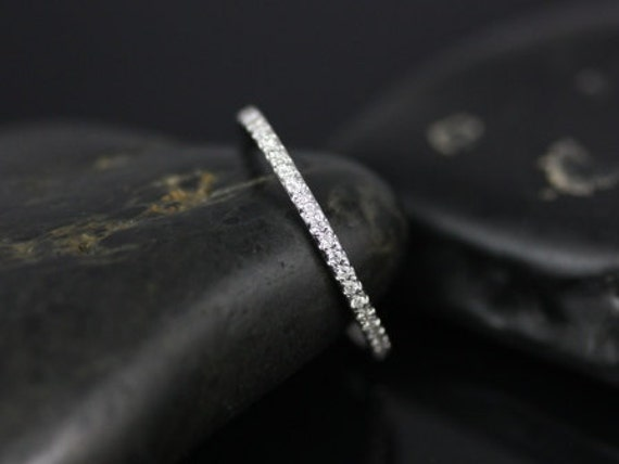 Priscilla 14kt Ultra Thin Almost-All-Around Diamond Eternity Band (Other Metal Options Available)