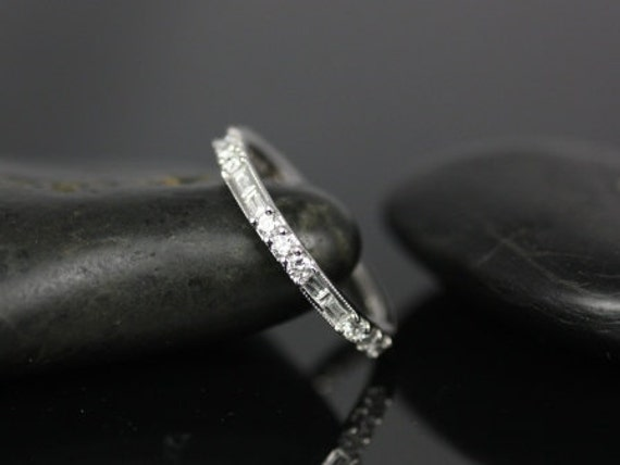 Gabriella 14kt White Gold Round and Baguette Bars Diamond WITH Milgrain ALMOST Eternity Band (Other Metals Available)