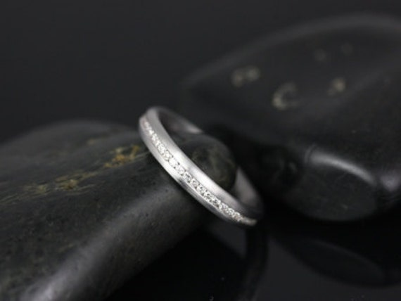 Oona 14kt Satin Finished Puffy Channel Set Diamond FULL Eternity Band (Other Metals and Stone Options Available)