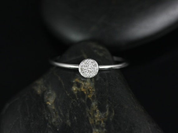 Diskco 14kt White Gold Petite Round Disk Diamonds Pave Ring (Other Metals Options Available)