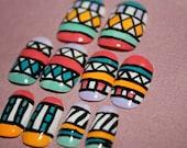 Aztec/Tribal Hand Painted Nail Art