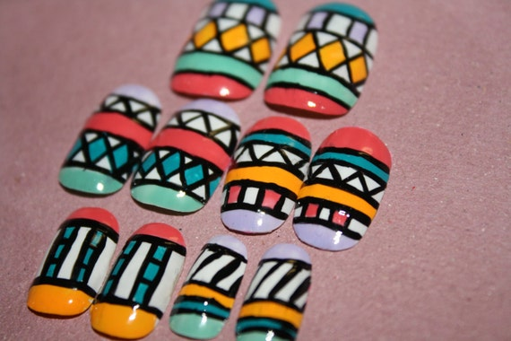 Aztec/Tribal Hand Painted Nail Art