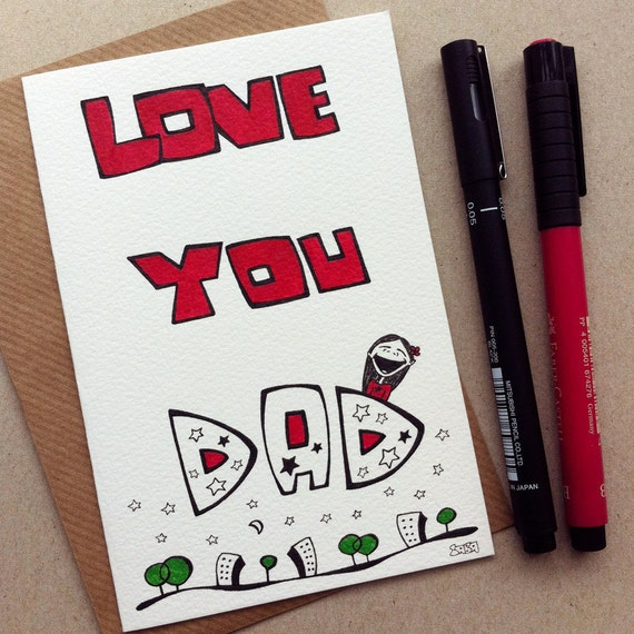 Father's Day Handmade Greeting Card - this beautifully hand drawn card is a perfect gift for your dad on Father's Day - No.005