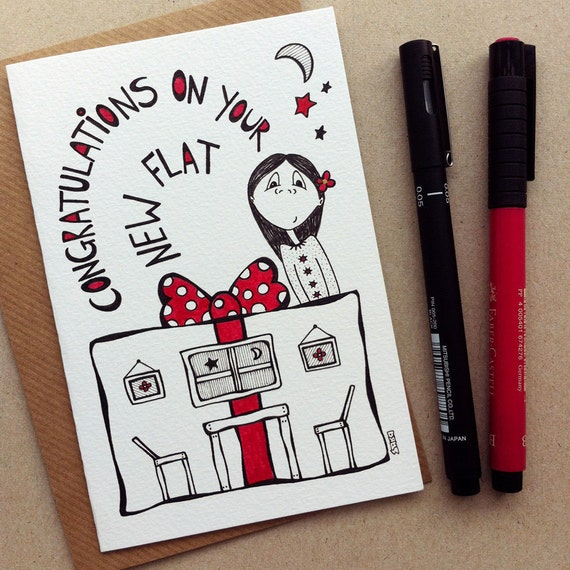 Congratulations On Your New Home Greeting Card - a hand drawn illustration which is a great gift for anyone with a new place - No.036