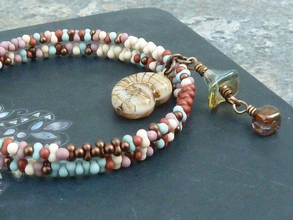Beaded Bracelet - Nautical Bracelet - Memory Wire Jewelry - Nautical Jewelry - Two Strand Bracelet - Grace of Eden