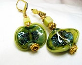 Lampwork earrings Lime green navy blue beaded earrings Gold pierced dangle earrings Lampwork jewelry Bohemian tribal beaded jewelry