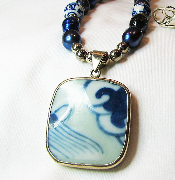 Cobalt blue pearl necklace Blue white Chinese porcelain pendant Single strand necklace Sterling silver Pearl jewelry Beaded jewelry.