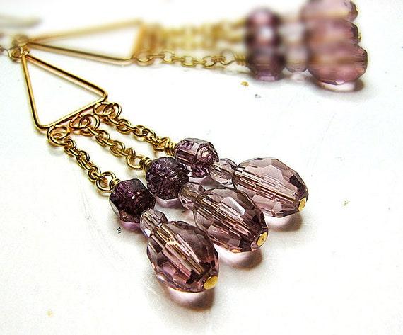 Purple bead pierced earrings Gold filled ear wire Shoulder duster chandelier Gypsy, bohemian beaded jewelry