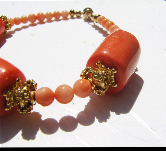 Elegant coral bracelet Orange beaded bracelet 24K gold vermeil jewelry Natural semi precious stone jewelry for women