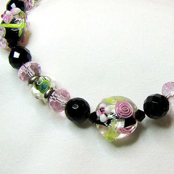 RESERVED Floral lampwork necklace Black onyx single strand necklace Feminine pink and green beaded jewelry