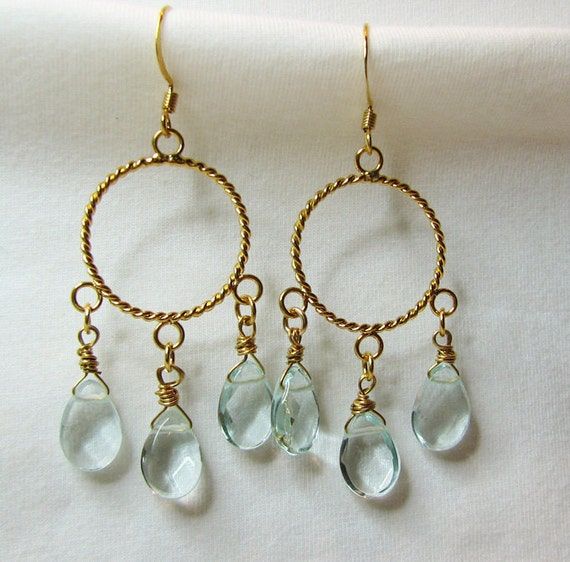 Pastel aqua teardrop pierced earring Gold chandelier Wire wrapped Delicate feminine beaded beach jewelry. Gypsy earrings.