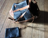 Blue and Tan Leather Satchel Bag