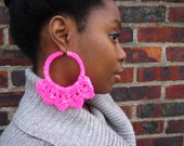 Pink Lotus Hand Knitted Hoop Earrings