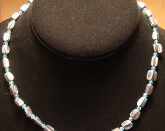 Abalone Shell / Blue Glass Bead Necklace