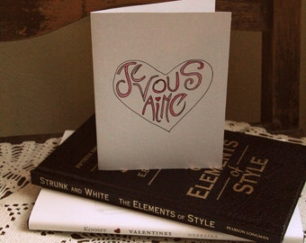Je Vous Aime I love You Valentine's Day Card