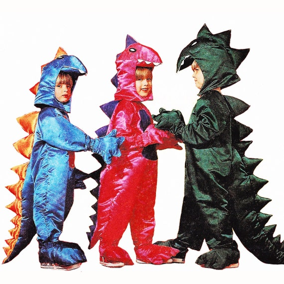 """1992 Prehistoric Masquerade Costume, Dinosaurs Jumpsuit with Spines, Hood, Spats, Mittens, McCall's 6219, Size Medium 5 & 6, Chest  24""""-25"""""""