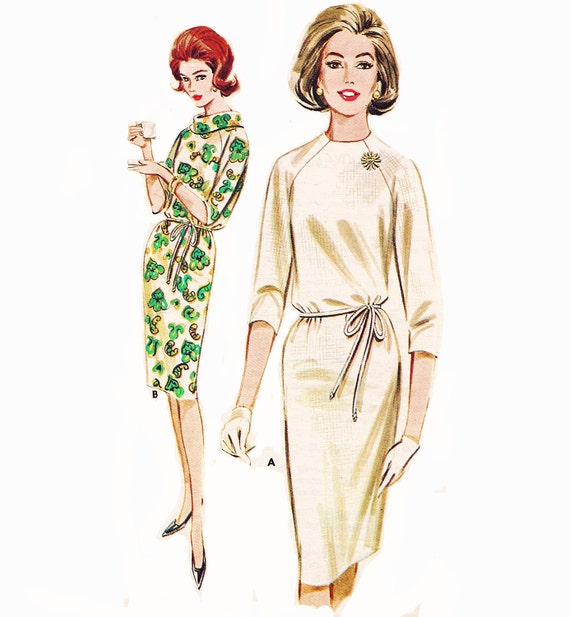 """Circa 1961 Mad Men Raglan Sleeve Shift Dress with 3/4 Length or Above Elbow Sleeves, Quick 'N Easy Butterick 2907, Bust 34"""""""