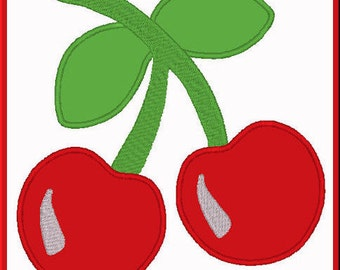 Two Cherries On A Stem 1 Digitized Applique Design For Embroidery Machines- Instant Download