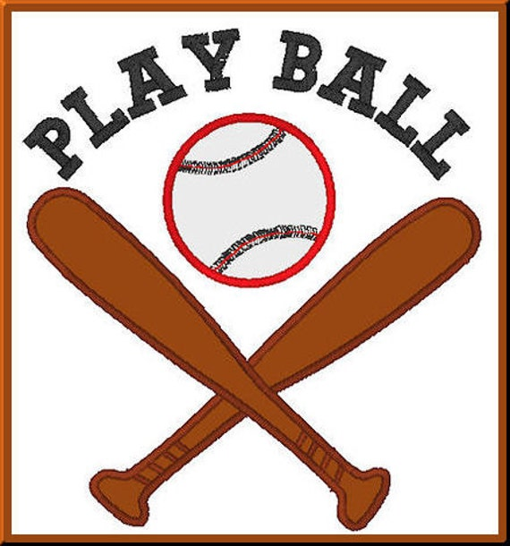 Baseball Bat and Ball - Play Ball Phrase - Digitized Applique Design For Embroidery Machines - Instant Download