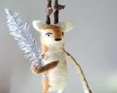 Vintage flair - Deer with silver tree - Needle felt animal, acrylic painting