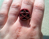 Red Pentacle Ring Free Shipping to US and Canada