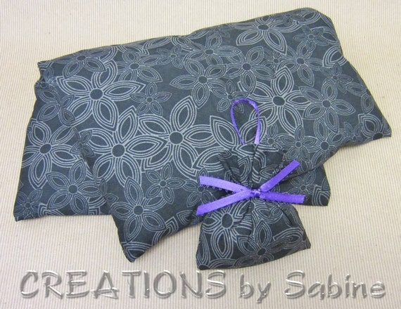 Corn Pillow, Microwave Heating Pack, Therapy Pad with washable cover, black, gray flowers, lavender FREE GIFT