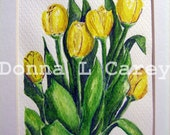 Yellow Tulips Watercolor Original 5x7 with off-white mat