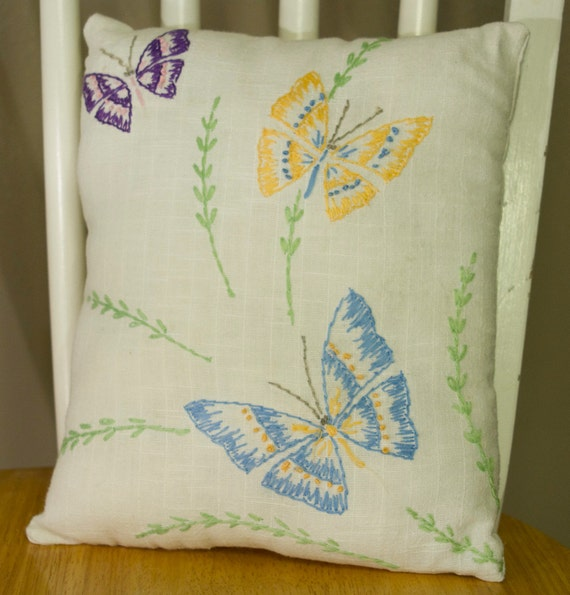 No.5 Decorative Pillow, Vintage Linen Embroidered Butterflies