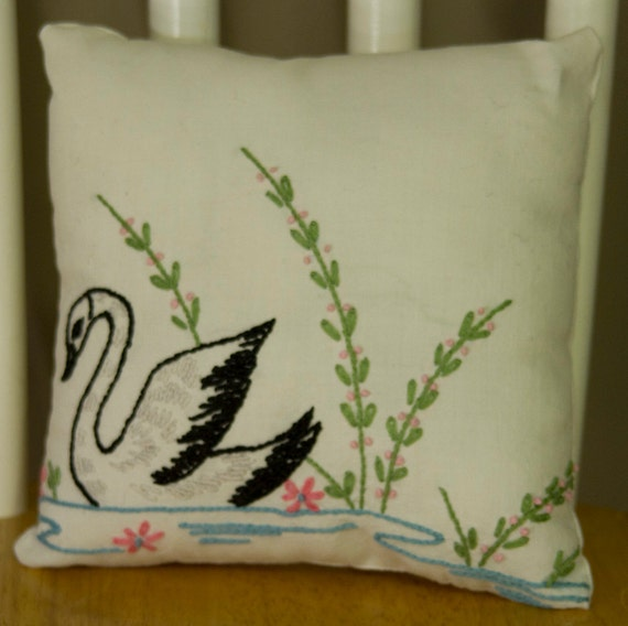 No. 11, Vintage Cotton Embroidered Swan Pillow
