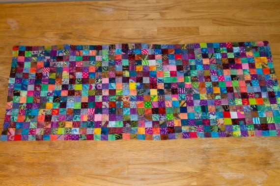 No. 24, Batik Postage Stamp Quilted Table Runner, 640 Pieces