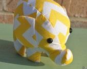 elephant stuffed animal - yellow and white chevron