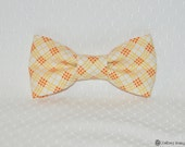 boys easy clip on bow tie - yellow, white, red plaid