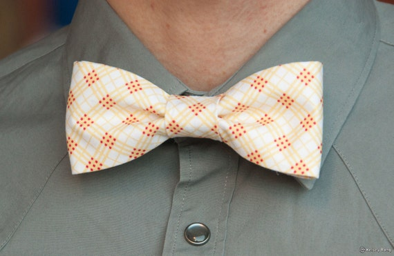 mens easy clip on bow tie - yellow, red white unique plaid pattern