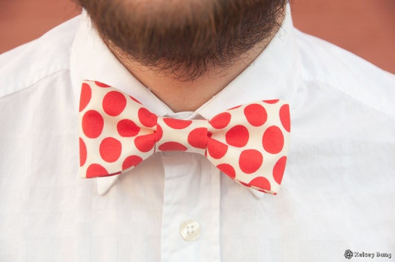 mens easy clip on bow tie - large red polka dot with cream background