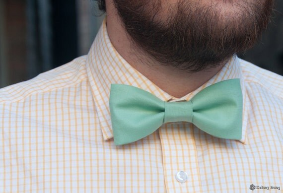 adult easy clip on bow tie - solid aqua blue