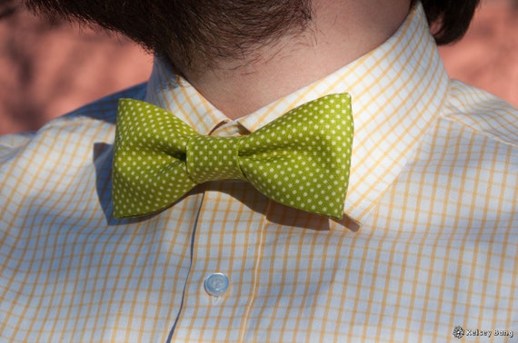 mens easy clip on bow tie - lime green with small cream polka dots