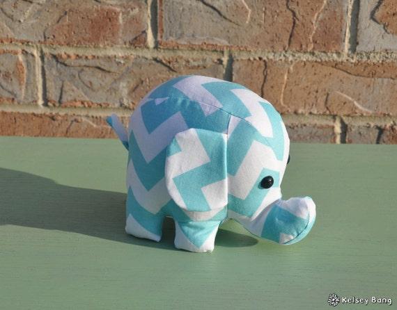 elephant stuffed animal - blue and white chevron