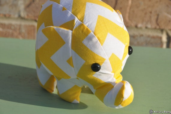 elephant stuffed animal - yellow and white chevron