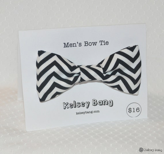 adult easy clip on bow tie - black and white chevron