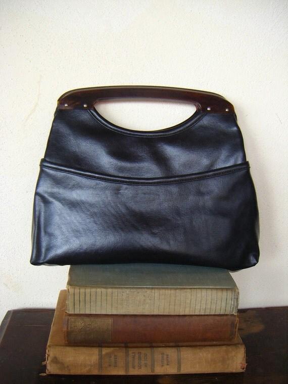 Vintage Black Handbag-Faux Tortoise Shell Handle-Retro Chic
